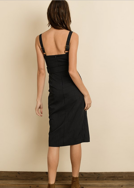 Navy Button Pinstripe Pencil Dress