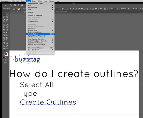 create outlines buzztag