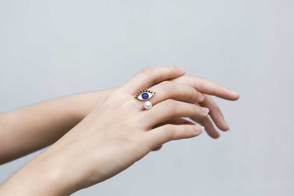 Evil Eye Ring in Blue at Experimental Jewellery Club