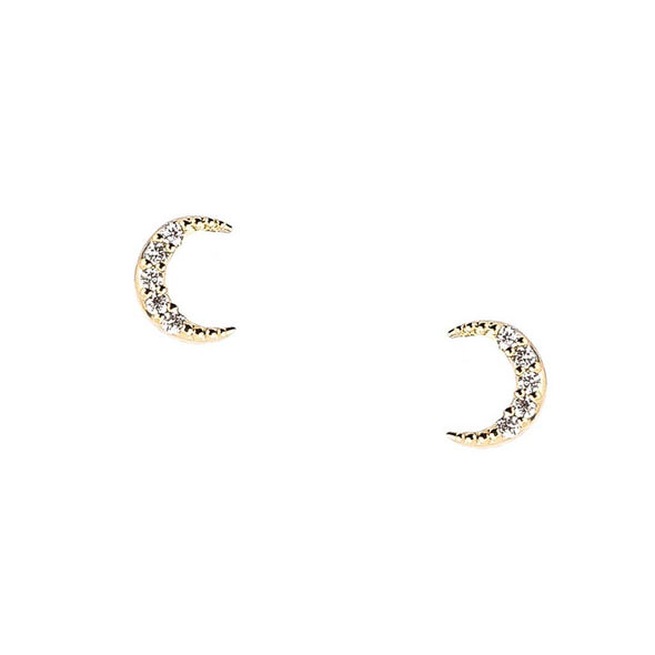 Pave Crescent Moon Earrings at Experimental Jewellery Club