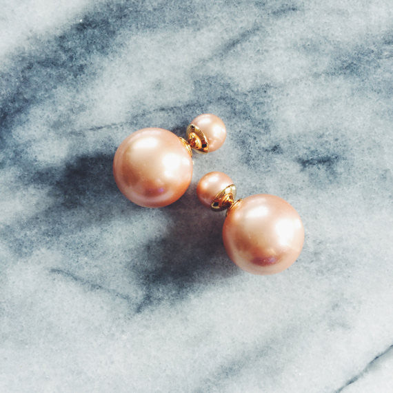 Double Pearl Earring in Champagne Pink at Experimental Jewellery Club @experimentaljewelleryclub