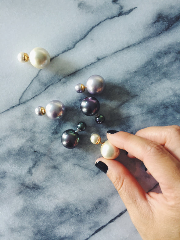 Double Pearl Earring in Marble