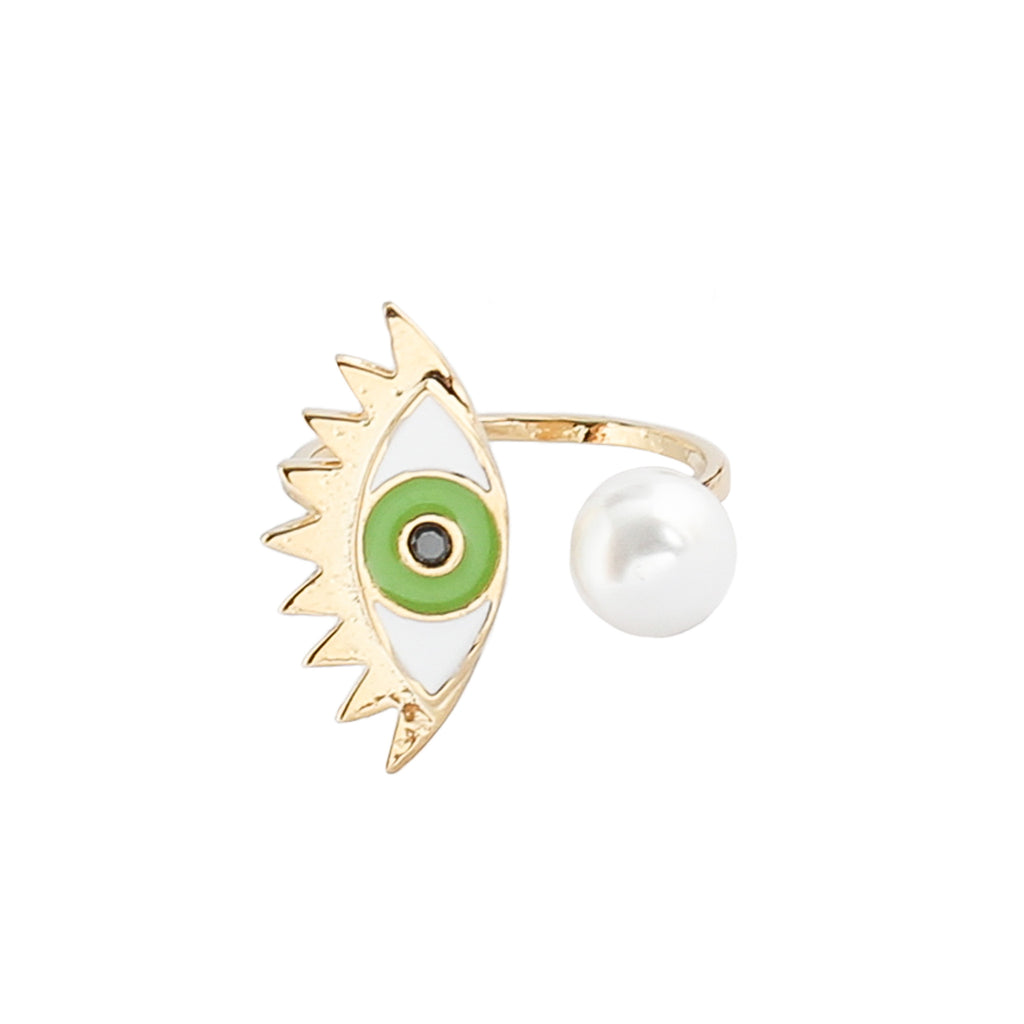 Evil Eye Ring in Green at Experimental Jewellery Club