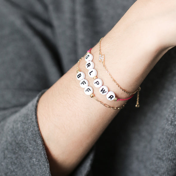 Gold Personalized Beaded Bracelet at Experimental Jewellery Club @experimentaljewelleryclub