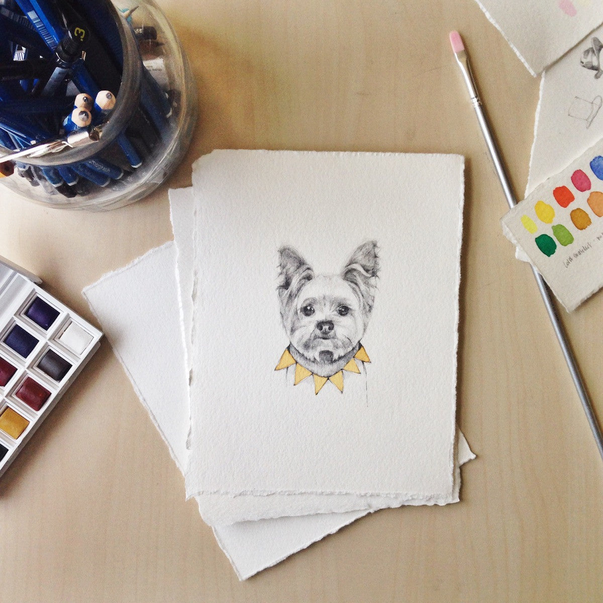 Hand drawn Portrait of your pet by Corrie Wessman