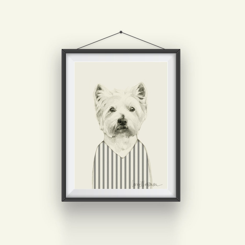 Westie Art // in stripy top