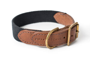 Dog collar - leather with black webbing