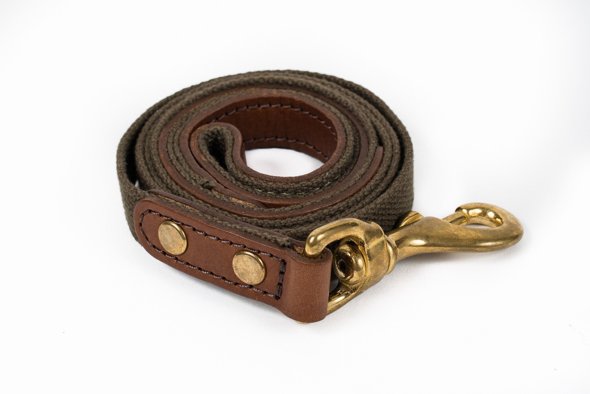 Dog Lead - Leather and deep olive webbing