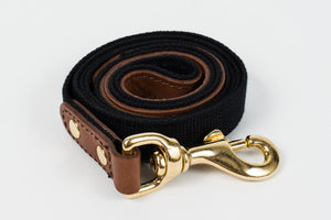 Dog Lead - Leather and black webbing