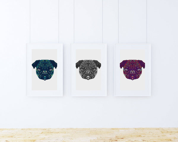 Print trio pug wall art