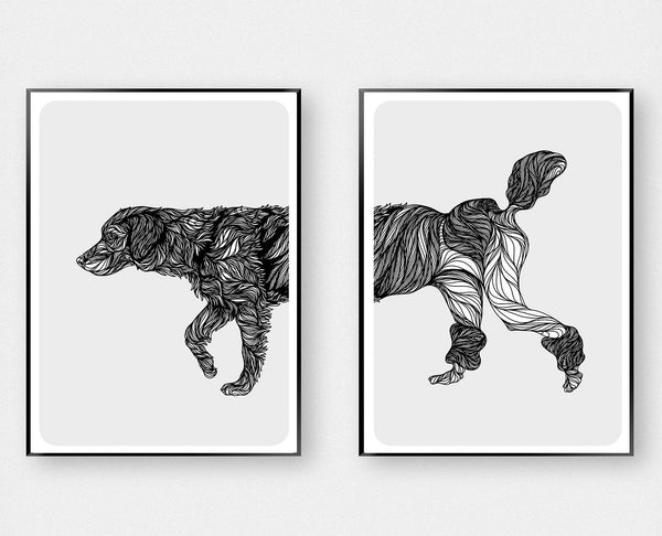 Labradoodle Art - Black and White