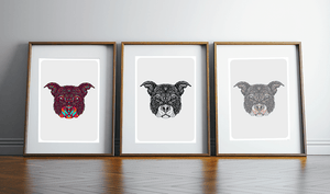 Print Trio wall art Staffie