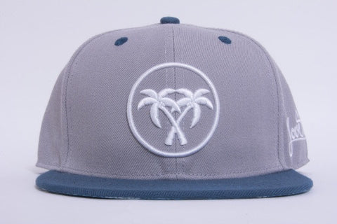 Grey/blue palm snapback