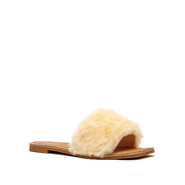 AFIA-02 BEIGE FAUX FUR 1/4 VIEW