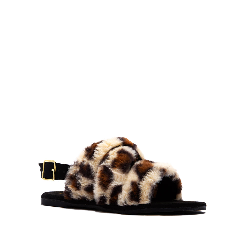 ARCHER-707XX TAN BLACK LEOPARD FAUX FUR 1/4 VIEW
