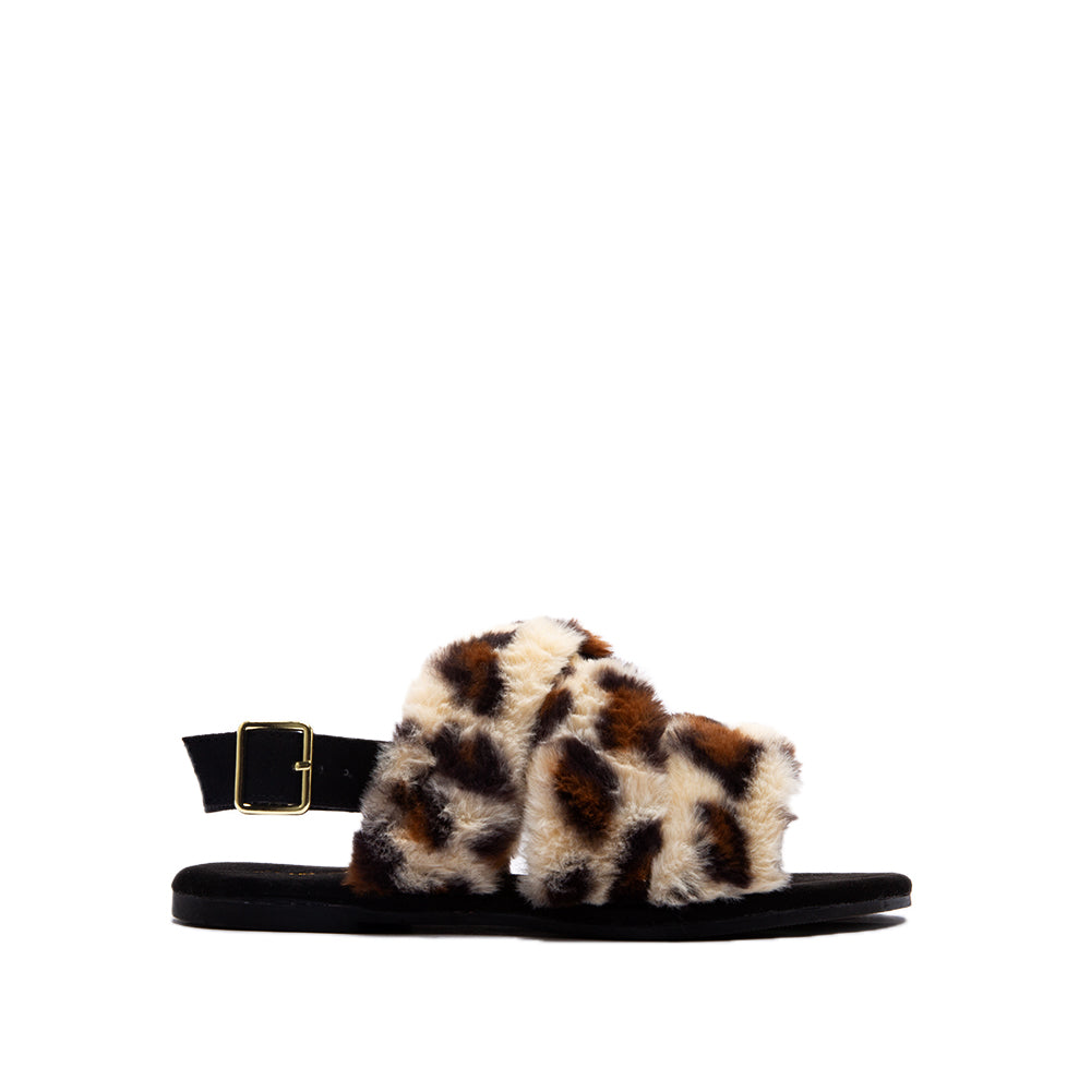 ARCHER-707XX TAN BLACK LEOPARD FAUX FUR 1/2 VIEW