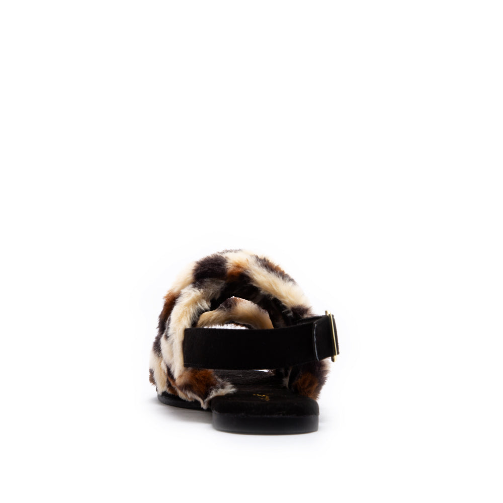 ARCHER-707XX TAN BLACK LEOPARD FAUX FUR BACK VIEW