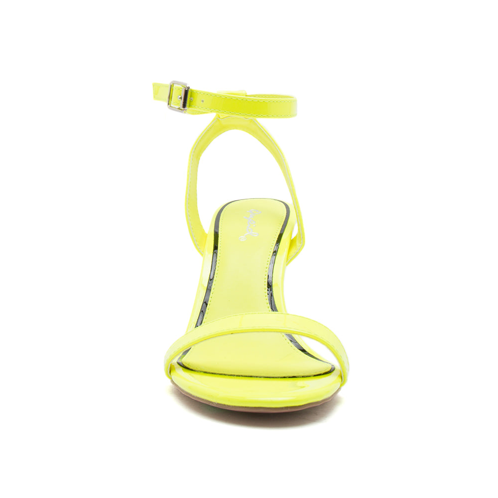 CHI-01X NEON YELLOW PATENT PU FRONT VIEW