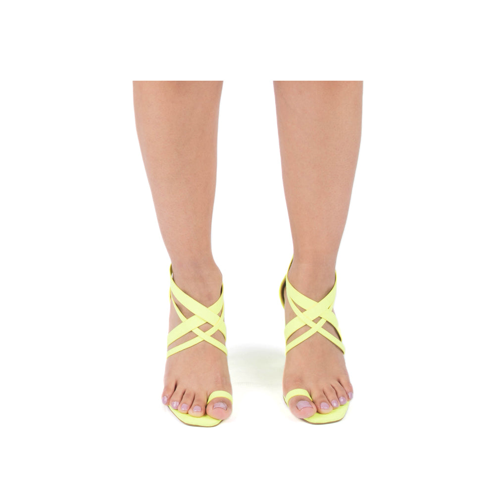COLINE-08 NEON YELLOW SUEDE PU
