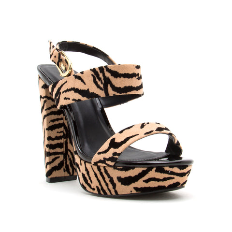 DEARLY-08 TAN/BLACK TIGER SUEDE PU
