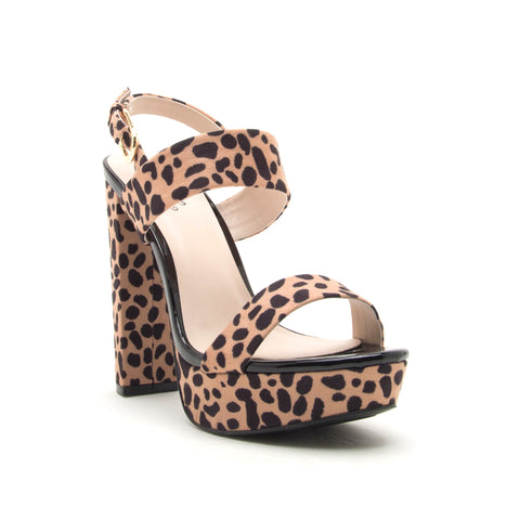 DEARLY-08 TAN LEOPARD SUEDE PU