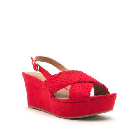 EBBE-33 RED SUEDE PU