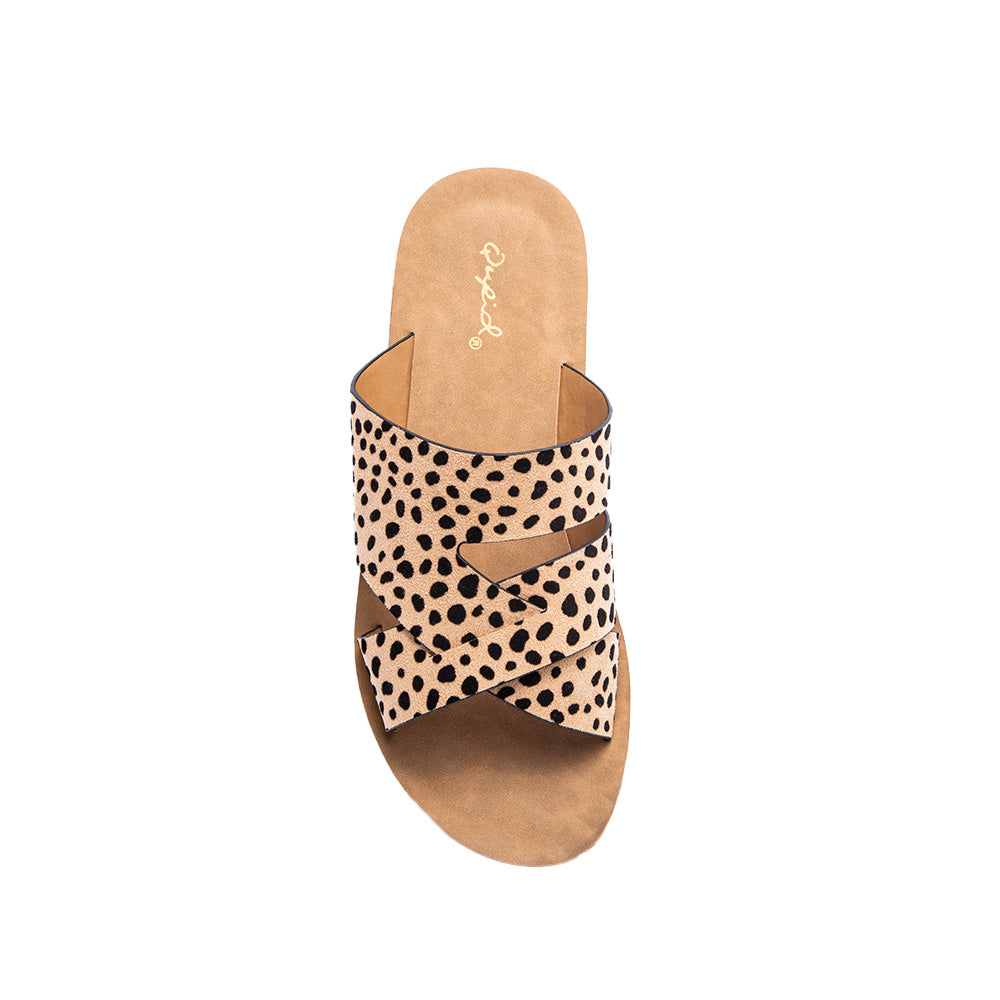 EPPA-02 TAN BLACK LEOPARD SUEDE TOP VIEW