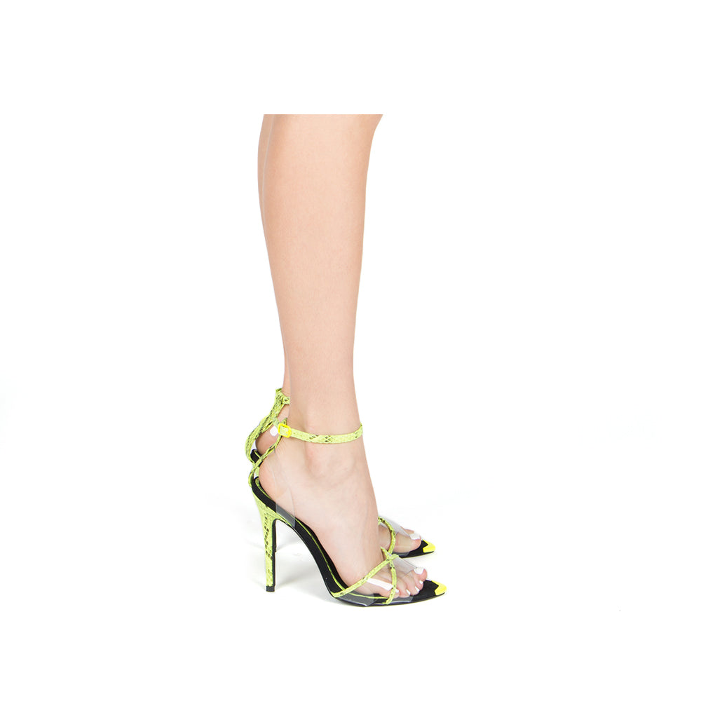 FRASIER-68XX NEON YELLOW/BLACK SNAKE PU 1/2 VIEW