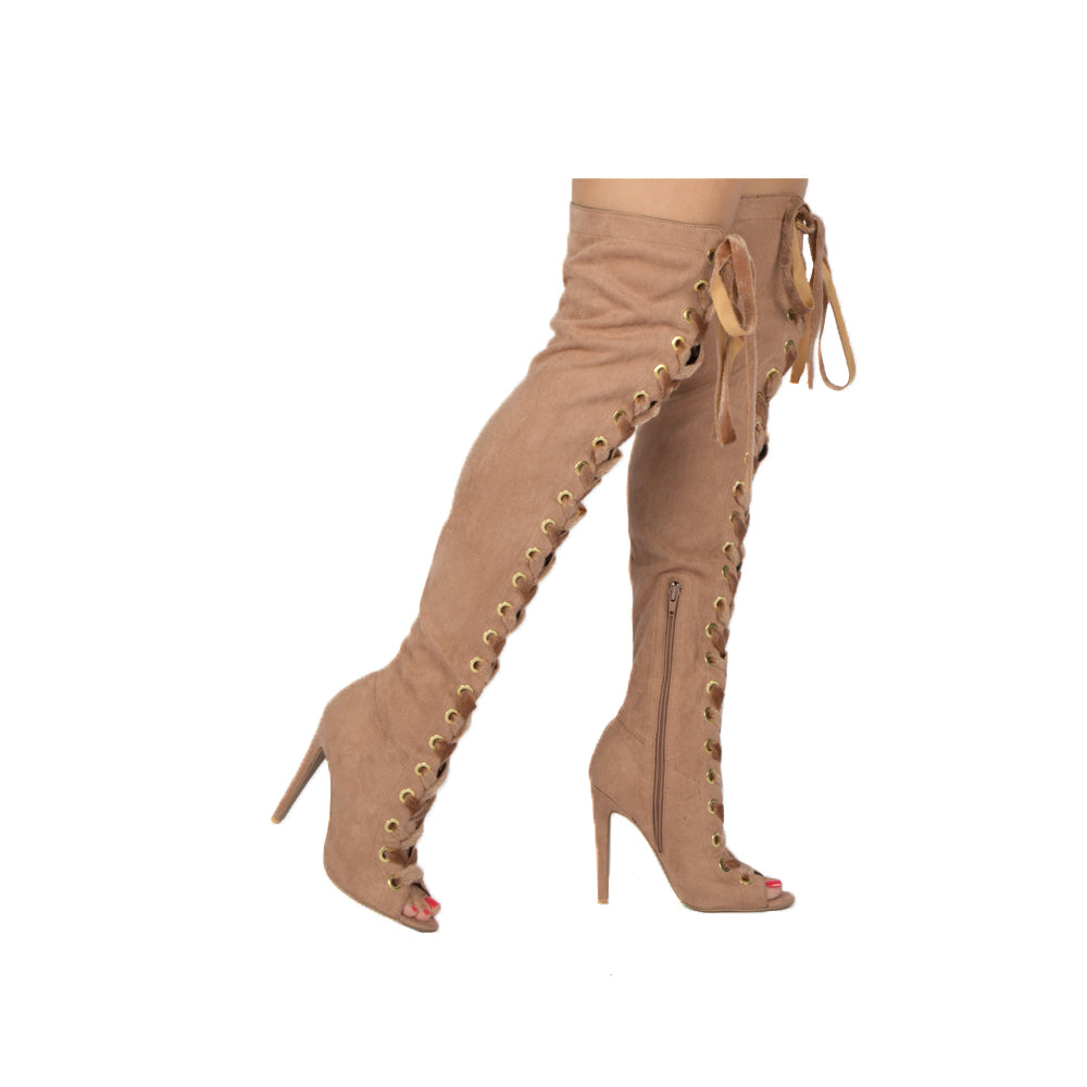 INTEREST-167XX TAUPE STRETCH SUEDE PU