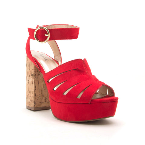 LAD-09 RED SUEDE PU