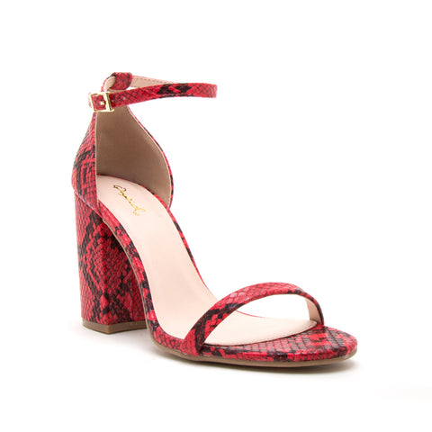 LAKE-25 RED/BLACK SNAKE PU