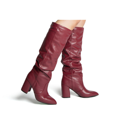 MARIKO-56 BURGUNDY STRETCH PU