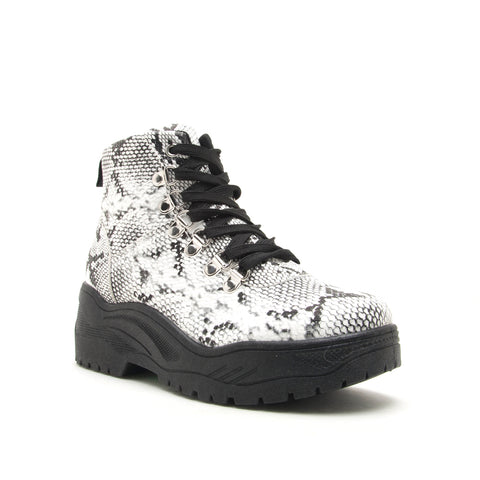 MICHAELA-01 WHITE/BLACK SNAKE PU