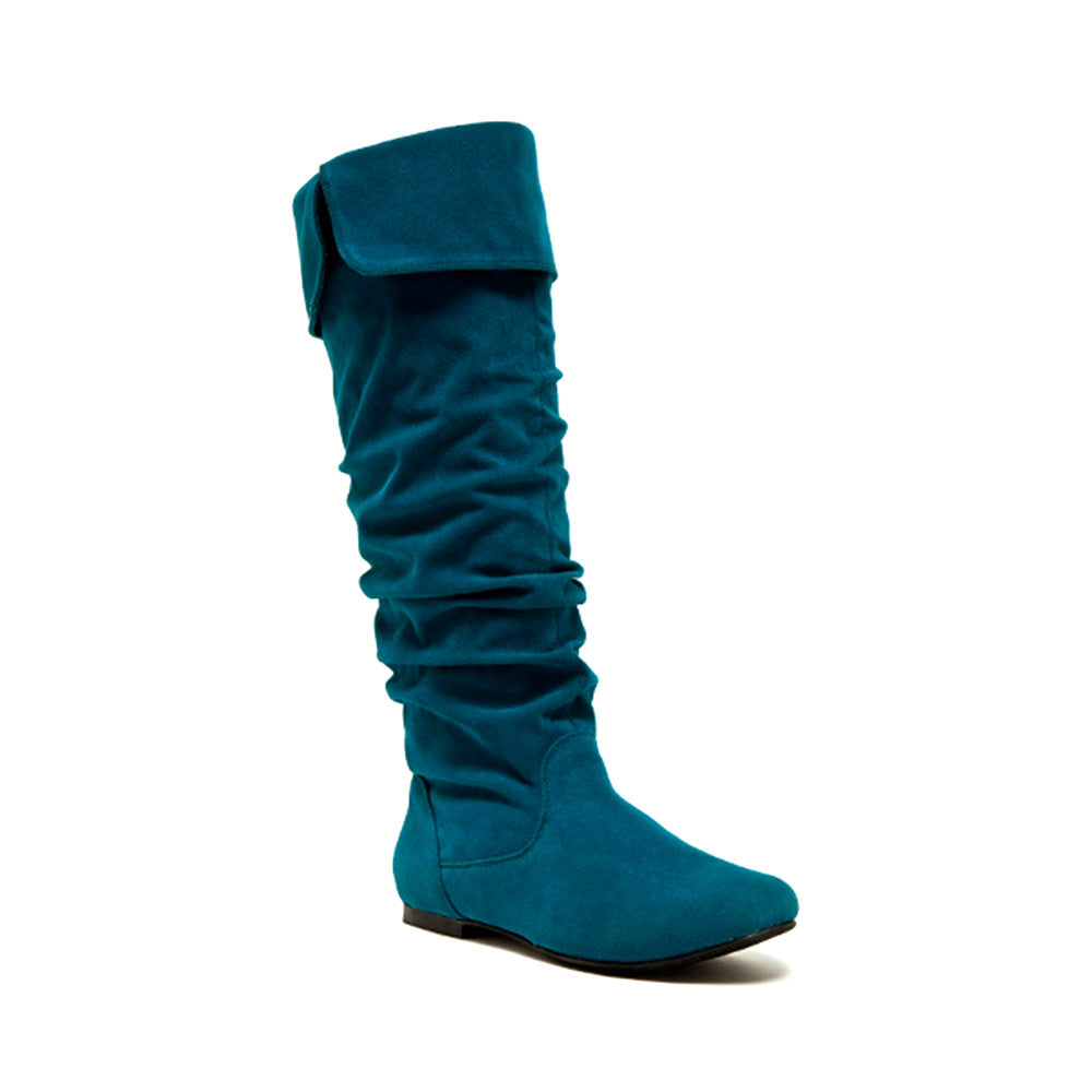 Qupid Wholesale NEO-100XX Teal Suede 1/4 View