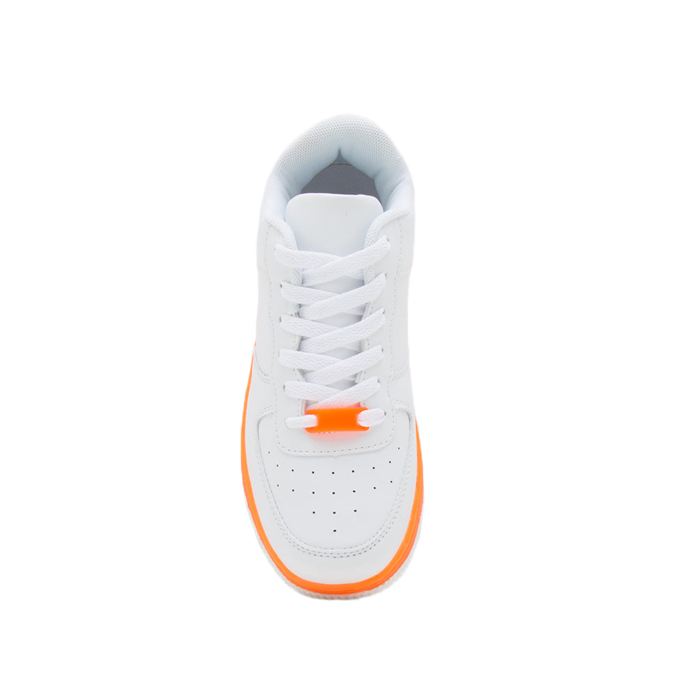 NOMA-01 WHITE NEON ORANGE PU FRONT VIEW