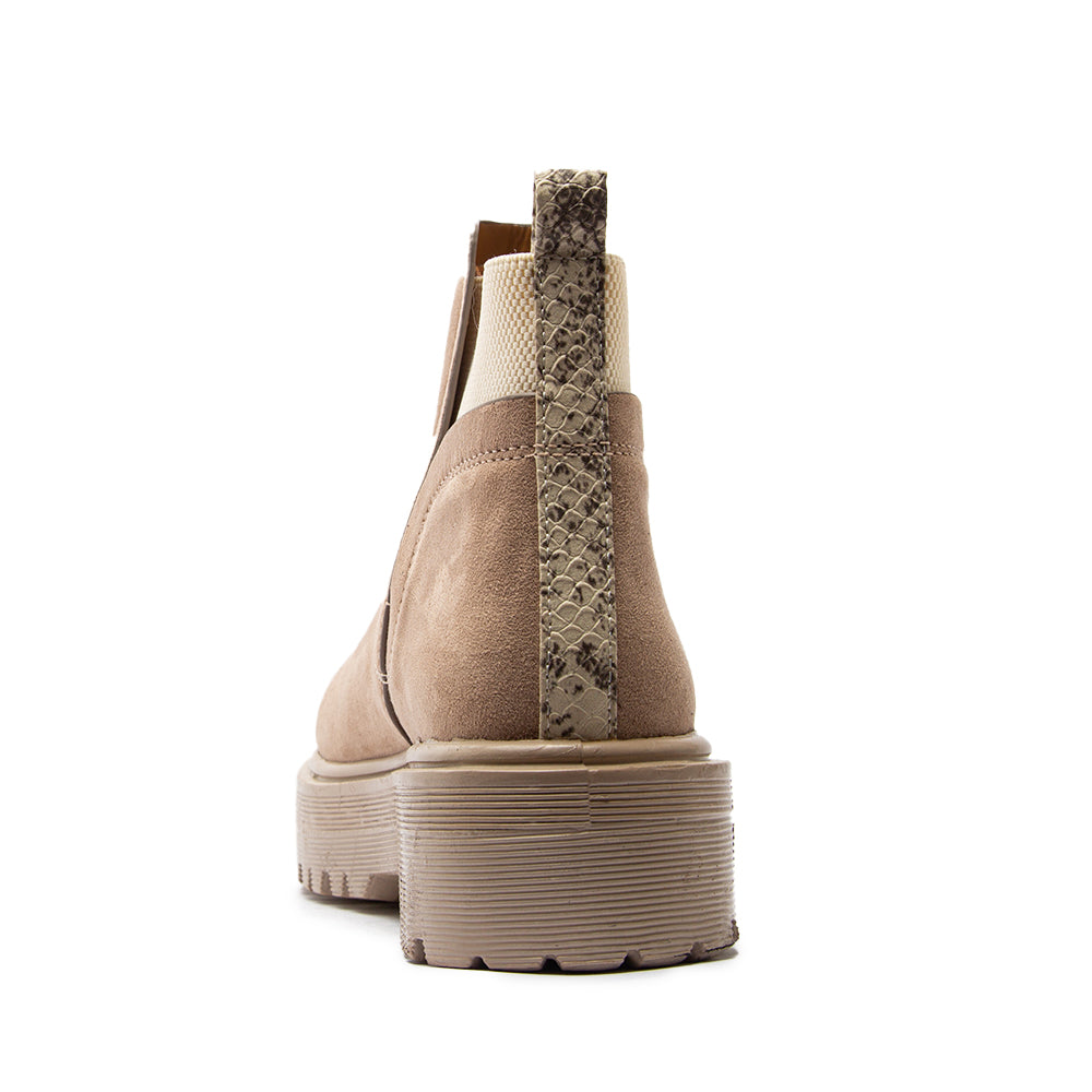 RAFFI-20 TAUPE STRETCH SUEDE PU BACK VIEW
