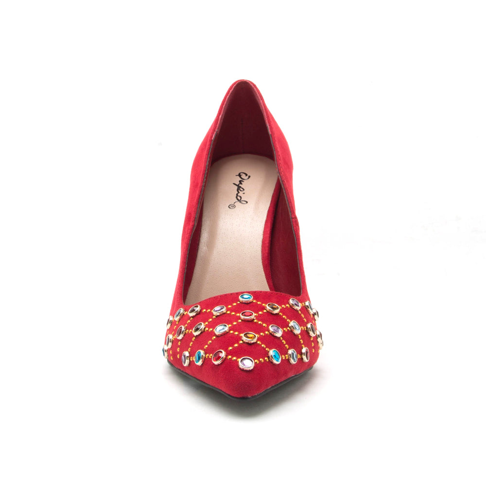 SHOW-14 RED SUEDE PU
