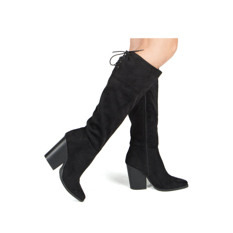 SLAY-12X BLACK STRETCH SUEDE PU