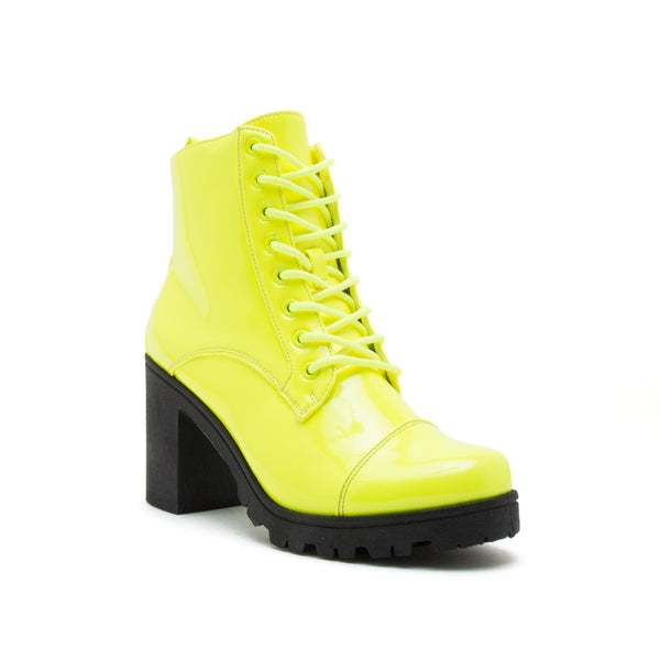 SORRENTO-39BX NEON YELLOW PATENT PU 1/4 VIEW