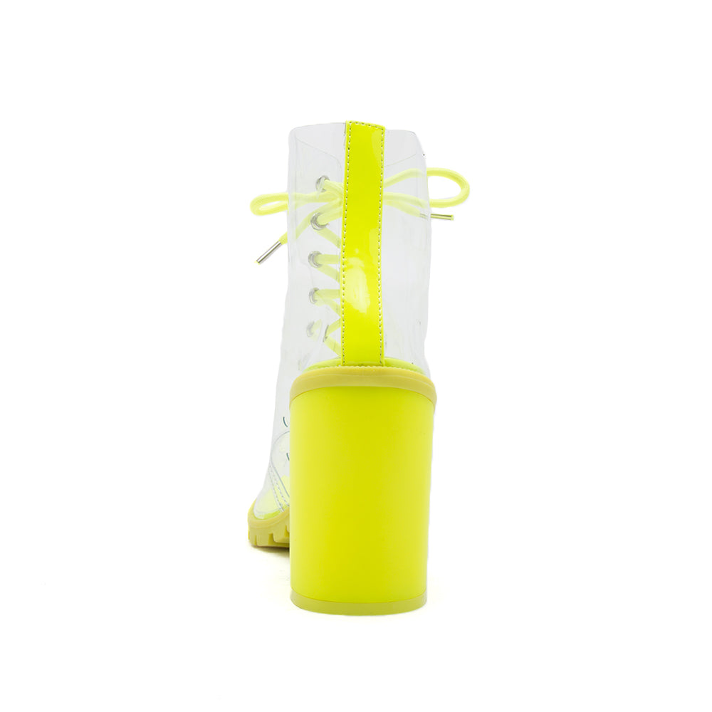 SORRENTO-57 NEON YELLOW PATENT PU