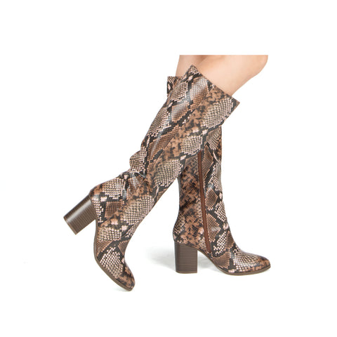 SYLAS-12 LIGHT BROWN MULTI SNAKE PU