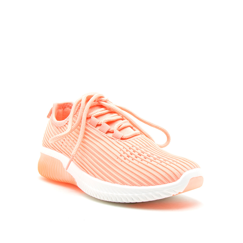 TANK-01 NEON CORAL FLY KNIT 1/4 VIEW
