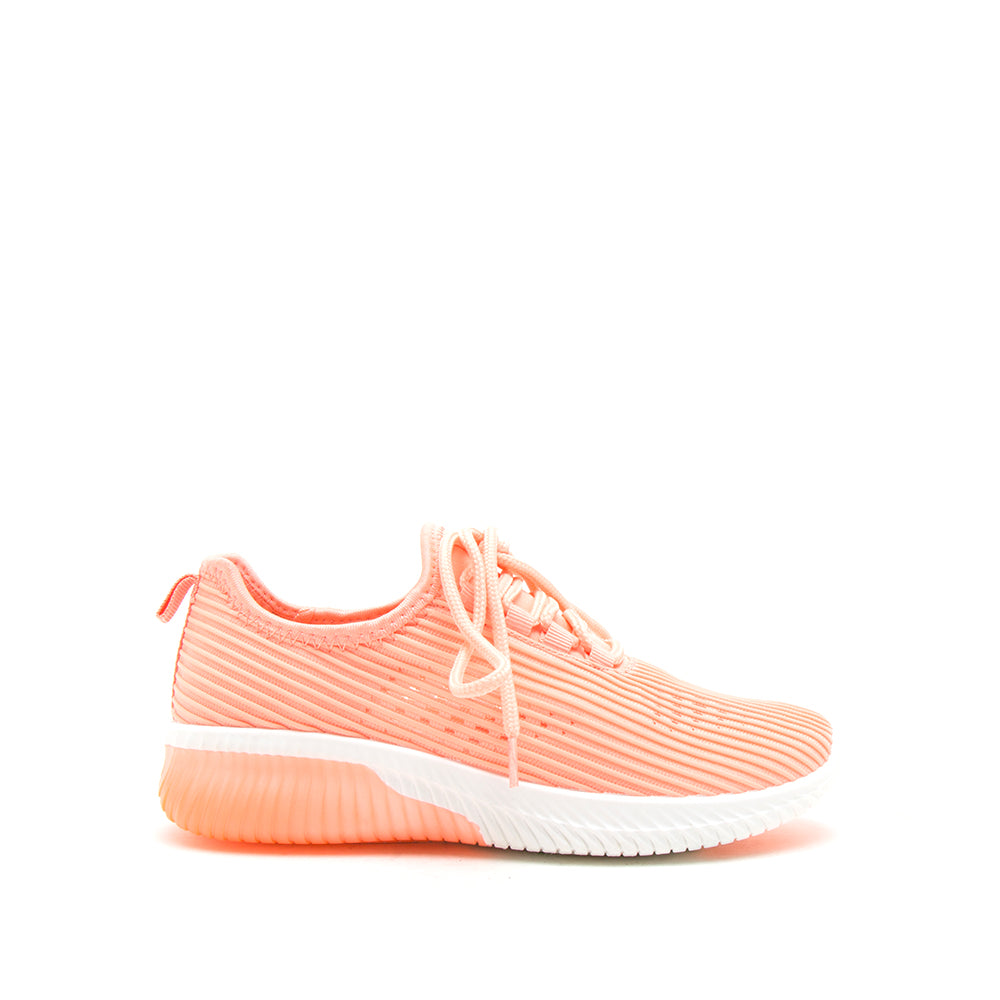 TANK-01 NEON CORAL FLY KNIT 1/2 VIEW