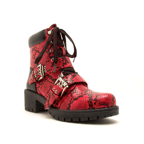TRESSA-01 RED/BLACK SNAKE PU