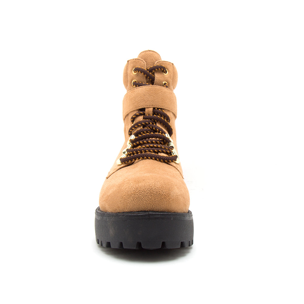 WARFARE-09A CAMEL STRETCH SUEDE PU FRONT VIEW