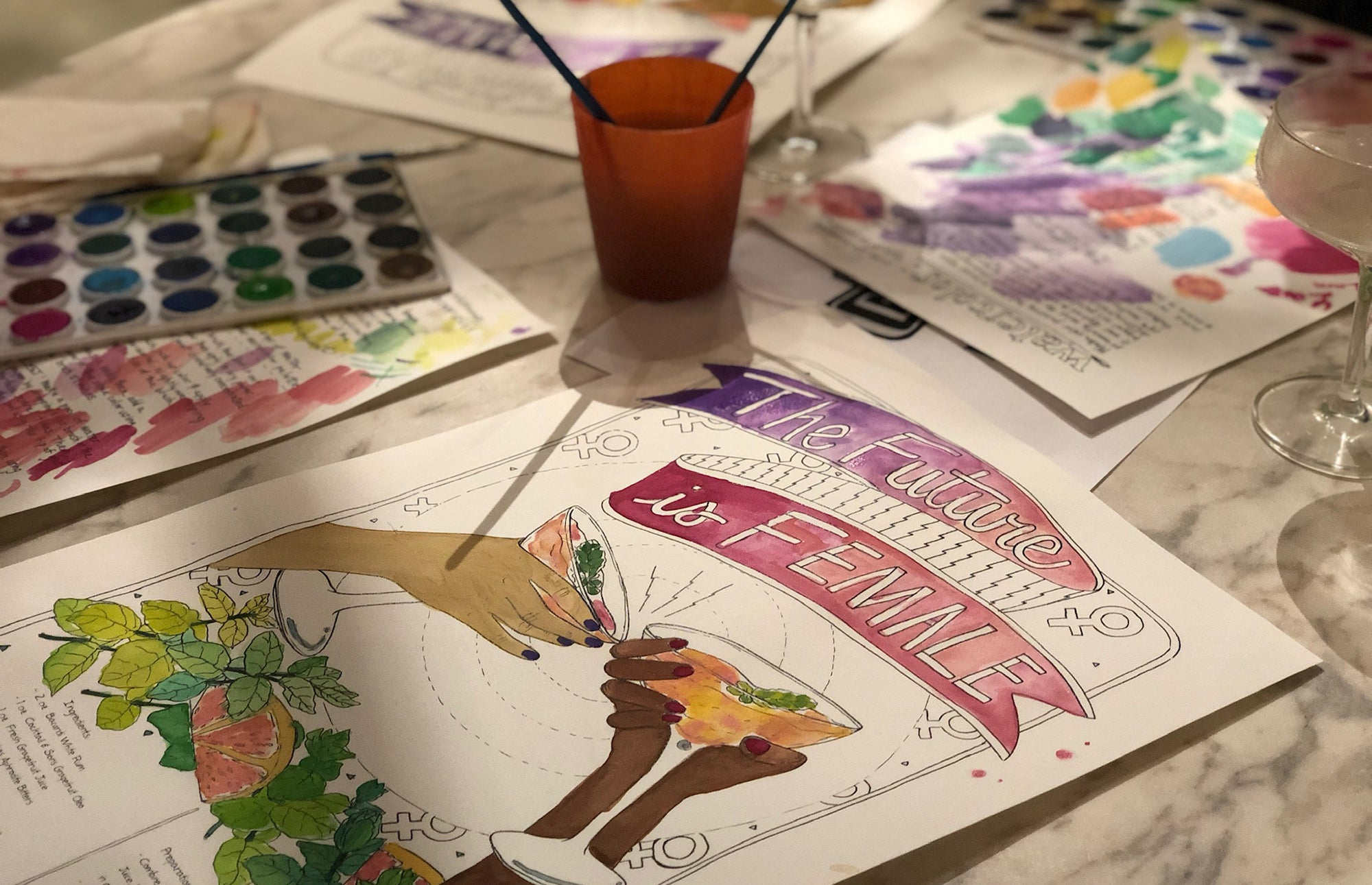 Watercolor and Cocktails