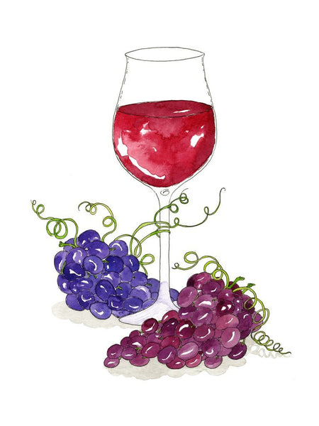 Red Wine Glass and Grapes Watercolor Art Print – Marcella ...