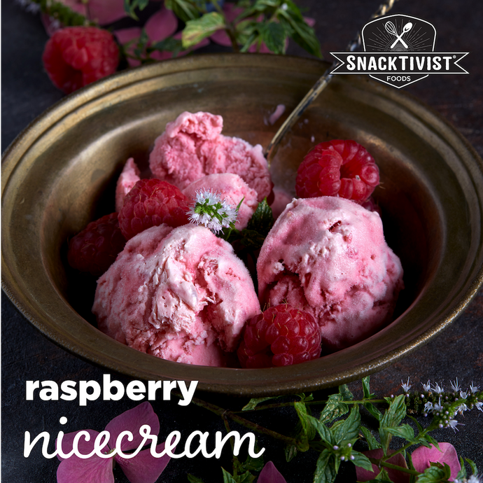 Raspberry Nicecream with Chocolate Chip Cookies, (GF, V)