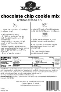 (Pack of 6) Snacktivist Foods Chocolate Chip Cookie Mix, Gluten-free, Non-GMO, 12 oz