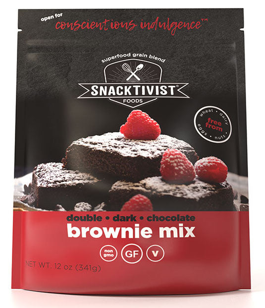 (Pack of 6) Snacktivist Foods Gluten-Free Brownie Mix, Dark Chocolate, Non-GMO, Allergen Friendly, Vegan, 12 oz bag